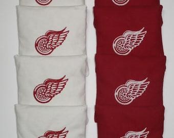 DETROIT REDWINGS NHL Cornhole Embroidered Bean Corn Toss Bags Aca Regulation New