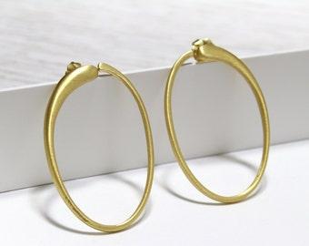 24k Vermeil Large Hoop Earrings on Posts