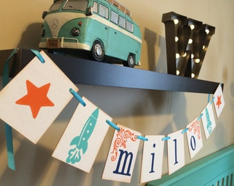 Personalized Boy Name Banner With Stars and Rockets / Space Room Decor / Personalized Boy Name Banner / Star Baby Shower Banner