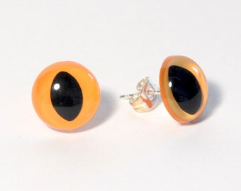 Amber Kitty Eye Earrings