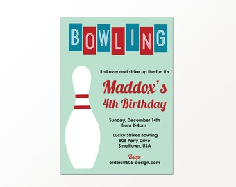 Retro Bowling Invitation - PRINTED or PRINTABLE Bowling Invitations by 505 Design, Inc