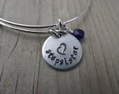 """Stepsister Bracelet- Gift for Stepsister- Hand-Stamped Bracelet- """"stepsister"""", stamped heart, and an accent bead of choice"""