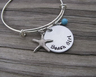 """Beach Inspiration Bracelet- """"Beach Girl"""" with starfish charm and an accent bead of your choice"""