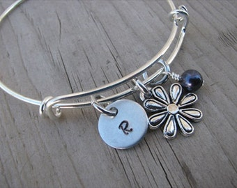 Flower Bangle Bracelet- Adjustable Bangle Bracelet with Hand-Stamped Initial, Flower Charm, and accent bead of your choice