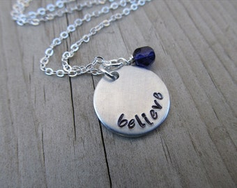 "Believe Inspiration Necklace- ""believe"" with an accent bead in your choice of colors- Hand-Stamped Necklace by Jenn's Handmade Jewelry"