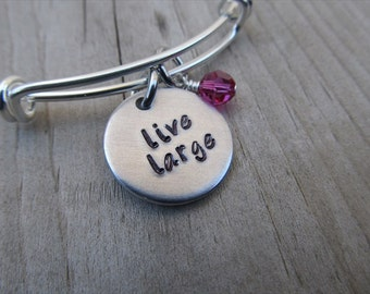 "Inspiration Bracelet- Hand-Stamped ""live large"" Adjustable Bangle Bracelet with an accent bead in your choice of colors"
