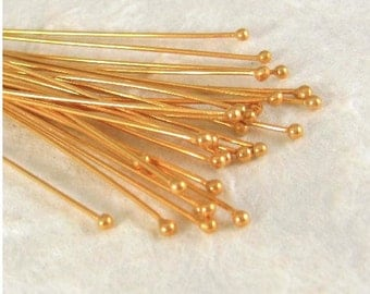 Vermeil Head Pins with LARGE Ball End - 10 Extra LONG  24 Gauge 77mm -  HB11