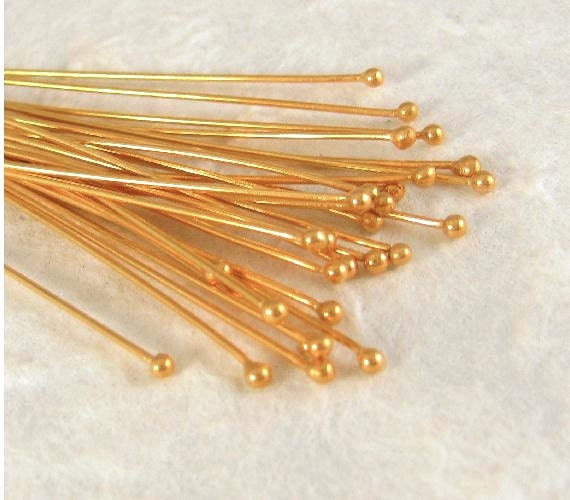 Vermeil Head Pins with Ball End - 10 Extra LONG  24 Gauge 89mm -  HB11