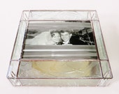 Stained Glass Keepsake Memory Gift Box 50th Wedding Anniversary Golden Anniversary Bride & Groom Picture Handmade Made-to-Order