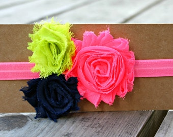 Headband, Neon Pink, Navy and Lime Green Shabby Flowers on Neon Pink Elastic, 6-12 month size