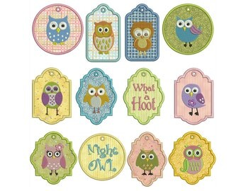 In-The-Hoop TAGS - OWLS 1 - Machine Applique Embroidery - Instant Digital Download