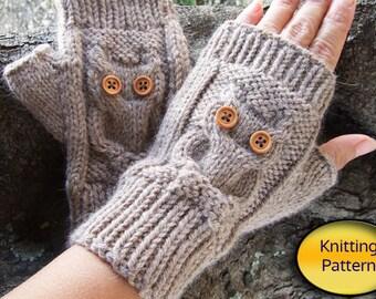 Owl Knit Fingerless Mittens - PDF Pattern - Owl Cable Knit Fingerless Gloves PDF Pattern