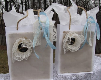 Vintage Country Rustic Gift Bags ~ Measures 10x8x4 ~ Bridemaid Gifts ~ Bridal Showers ~ Baby Showers ~ Wedding ~ Made to Order