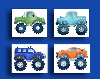 monster truck boys art, boys transportation art prints, childrens artwork, transportation bedroom, monster truk bedding art