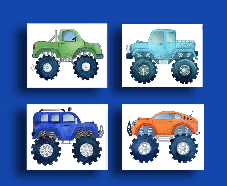 monster truck boys art boys transportation art prints
