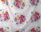Vintage Cheerful Flower Bouquet Kitchen Tablecloth Mid Century Fabric Table Cloth