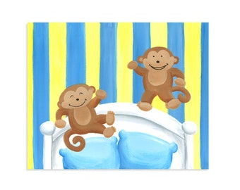 Nursery Rhyme Print - Two Little Monkeys Jumping on the Bed