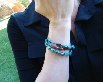 Turquoise Wrap Bracelet  Blue and Orange Bracelet Stone Beaded Jewelry  Turquoise and Agate  Memory wire - BJ0018