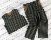 SALE!  Handmade boys Size 5 Vest and Pants Flannel and Corduroy Boys Long Pants and One Button Vest