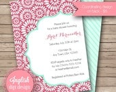 Floral Medallion Baby Shower Invitation, Medallion Baby Shower Invite, Printable Baby Shower Invitation - Floral Medallion in Red & Aqua