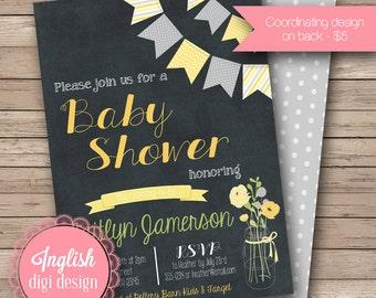 Chalkboard Baby Shower Invitation, Chalkboard Baby Shower Invite, Printable Chalkboard Baby Shower Invitation in Black,  Yellow, Green