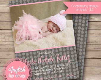 Dotted Birth Announcement, Dotted Baby Announcement, Printable Polka Dots Baby Photo Announcement in Gray and Pink