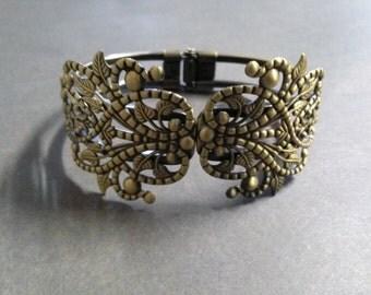 Bangle Bracelet Blanks Filigree Antiqued Bronze Bangle Bracelets Hinged Bracelet
