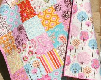 SALE LAST ONE Baby Girl Quilt, Pretty Little Things, Dena Designs, Pink Brown Orange, Modern Blanket, Crib Bedding, Cot Nursery Tree Paisley