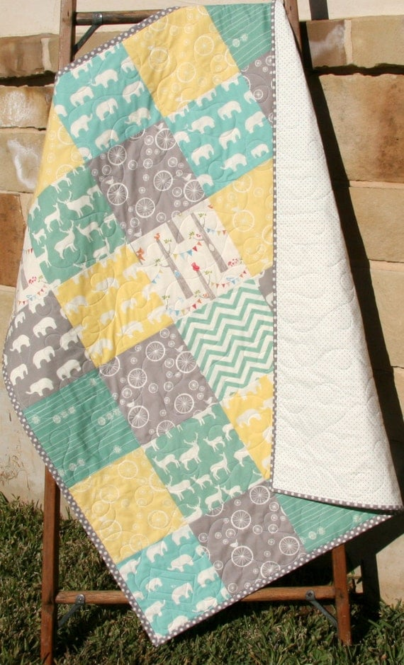 Baby Quilt Organic Gender Neutral Yellow Aqua By