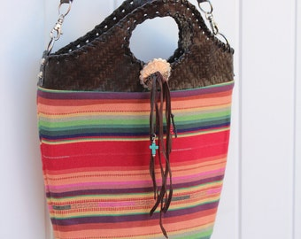 Bucket Purse in Serape Fabric with Faux Leather