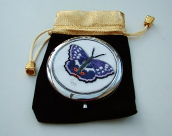 Hand Embroidered Compact handbag mirror with a Purple Emperor butterfly design.
