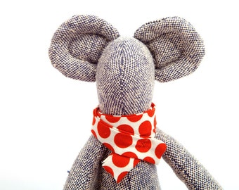 Stuffed plush mice doll ,hand made from woven black white pure silk , minimalist mouse , in red coral socks & polka dots scarf , timo's doll