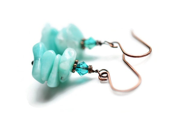 Amazonite Earrings, Antique Copper Earrings, Zircon Swarovski Earrings, Gemstone Earrings