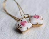 Pink Rose Earrings .. Floral Vintage Pink Flower Japanese