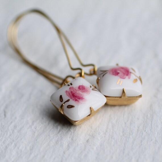 Pink Rose Earrings .. Floral Vintage Pink Flower Japanese