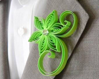 Candy Apple Green Boutonniere, Apple Buttonhole, Apple Wedding