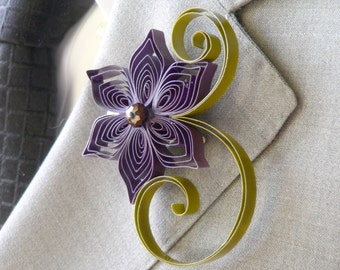 Amethyst and Olive Wedding Boutonniere, Amethyst Wedding, Olive Wedding, Purple and Green Wedding, Purple and Green Boutonniere