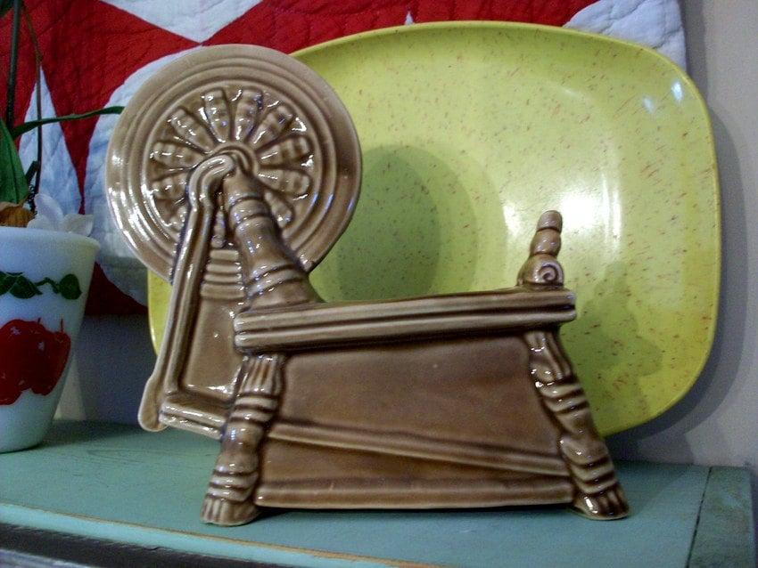 Vintage Pottery Planter Spinning Wheel Marked Ozark Mtn
