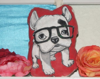 Hand Painted Hip Puppy Pillow
