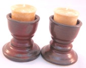 Table Top Candle Holders - Set of Two in Rust Red