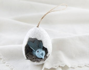 Egg Ornament - Retro Spun Cotton Bluebird Diorama Easter Egg Decoration
