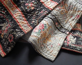 Vintage Quilt / French Boutis Provencal Traditional Cotton Prints