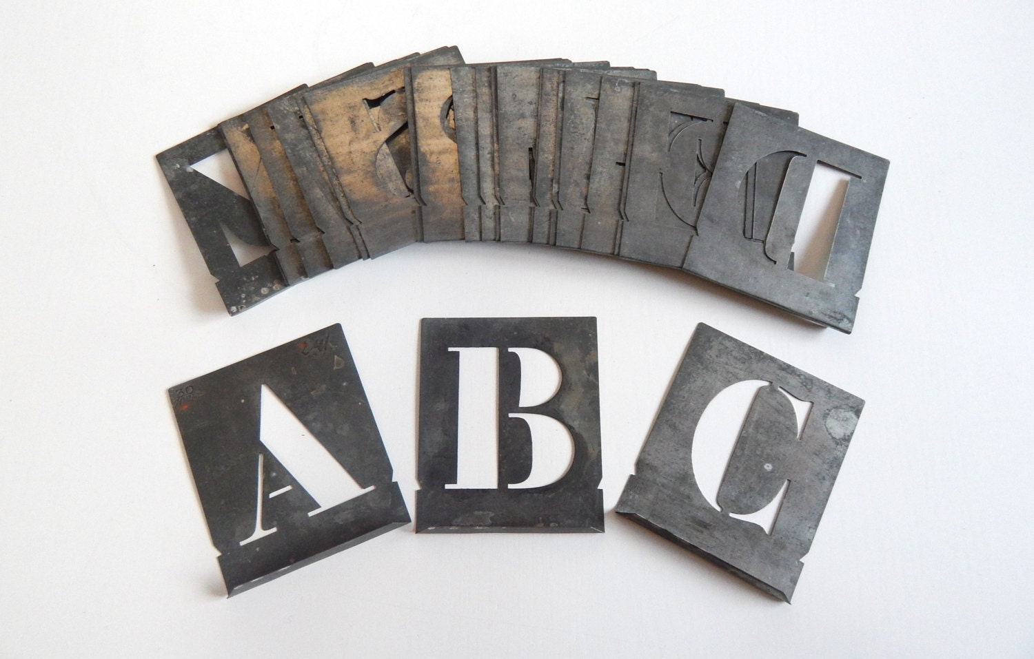 French vintage stencil set in metal the alphabet for Metal stencil set letters