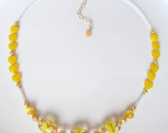 CLEARANCE - Yummy Lemon Yellow Necklace with Lampwork Beads - Teen Girls Jewelry - Sunny Bright Yellow Necklace OOAK Necklace Heart Necklace