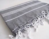 Shipping with FedEx - Classic - Picnic blanket, Sofa throw, Beach blanket, Tablecloth, Bedcover - Bathstyle - Gray