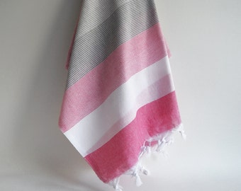 SALE 50% OFF Bathstyle Turkish BATH Towel Peshtemal - Gray - Pink - White - Beach, Spa, Swim, Pool Towels and Pareo