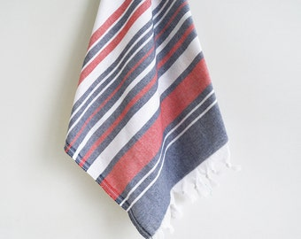 SALE 50 OFF/ SET 2 Towels / Head and Hand Towel / Navy Blue - Red Striped