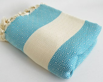 SALE 30 OFF / Diamond Blanket / Turquoise / Double Size / Bedcover, Beach blanket, Sofa throw, Traditional, Tablecloth