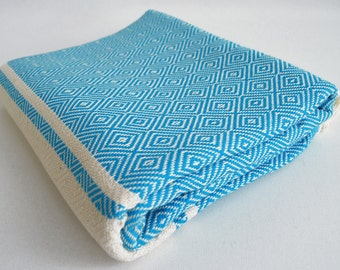 SALE 70 OFF/ BathStyle / Blue / Diamond Style Turkish Beach Bath Towel Peshtemal / High Absorbent Towels