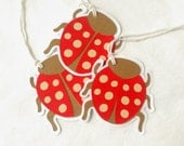 """6 - 2 5/8"""" x 2 3/4"""" Ladybug Gift Tags, Spring, Birthday, Gift Tags Repurposed, Recycled Materials, Hand Assembled"""